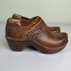 Ariat Sheila Brown Leather Pebbled Copper Clogs